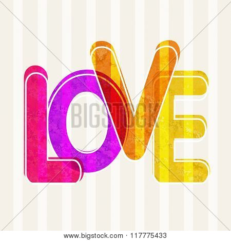 Colorful stylish text Love on abstract vintage background for Happy Valentine's Day celebration.