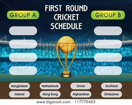 First Round, Cricket Match Schedule with Participant Countries Names on stadium background.