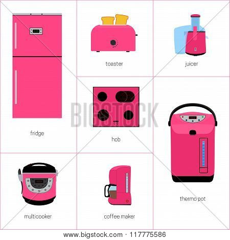 vector image set of kitchen appliances in pink