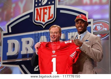 Aldon Smith is introduced by Commissioner of the National Football League Roger Goodell as the seventh pick to the San Francisco 49ers at the NFL Draft 2011 at Radio City Music Hall in New York, NY.