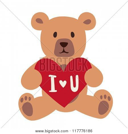 Gift Bear holding a red heart isolated on white background. Valentine Day or Wedding gift symbol bear. Gift bear toy