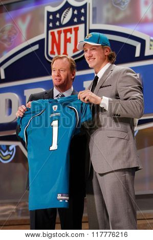 Blaine Gabbert is introduced by Commissioner of the National Football League Roger Goodell as the tenth pick to the Jacksonville Jaguars at the NFL Draft 2011 at Radio City Music Hall in New York, NY.