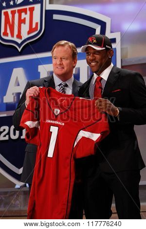 Patrick Peterson is introduced by Commissioner of the National Football League Roger Goodell as the fifth pick to the Arizona Cardinals at the NFL Draft 2011 at Radio City Music Hall in New York, NY.
