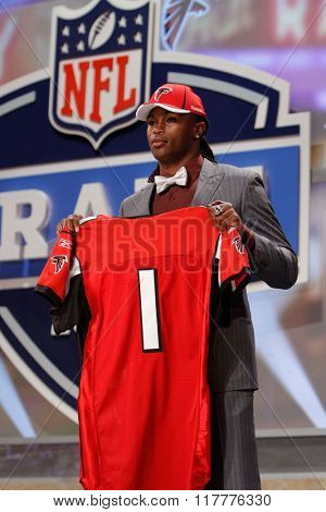 Julio Jones is introduced as the sixth pick to the Atlanta Falcons at the NFL Draft 2011 at Radio City Music Hall in New York, NY.