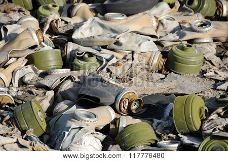 Old Broken Abandoned Respirators At Ground