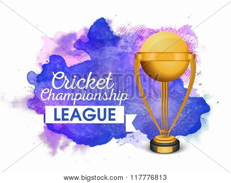 Creative golden winning Trophy on abstract background for Cricket Championship League.