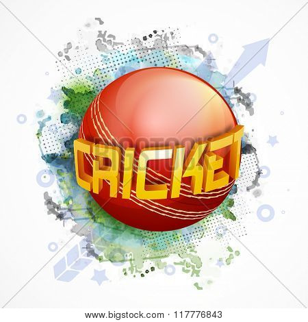 Glossy 3D text Cricket with red Ball on abstract background for Sports concept.