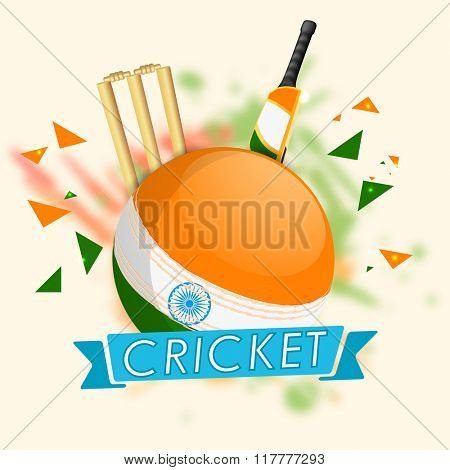 Indian National Flag colors Ball with Bat and Wicket Stumps for Cricket Sports concept.