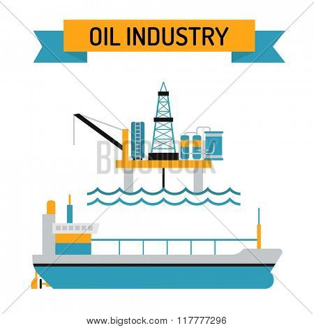 Oil industry flat style vector symbols. Oil transportation, oil or gas fuel production vector illustration. Oil and gas vector infographic elements isolated on white background. Oil factory, gas