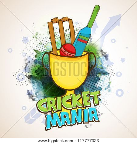 Creative illustration of Bat, Ball and Wicket Stumps in big Winning Cup on abstract background for Cricket Mania.
