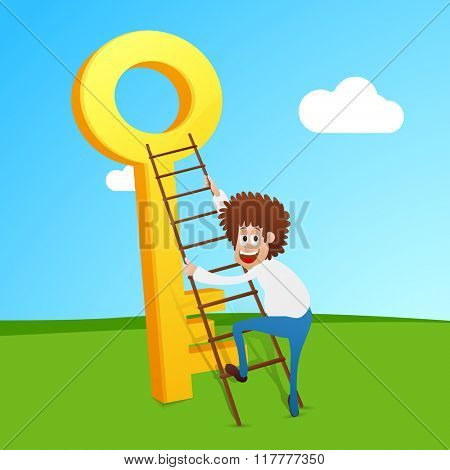 Young smiling Businessman trying to climb up on success key for Business progress concept.
