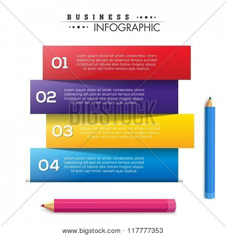 Creative colorful Business Infographic layout with pencils.