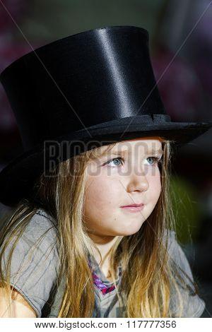 Cute Little Girl In Black Top Hat