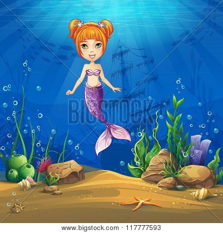Undersea World With Haired Mermaid Vector Illustration Backgroun