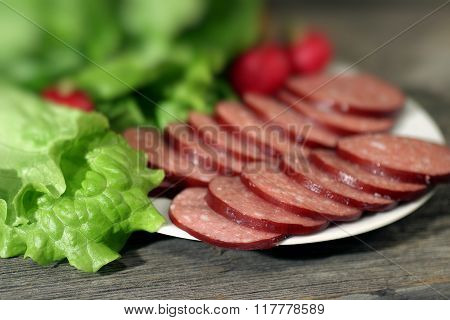 Sliced Sausage And Lettuce.