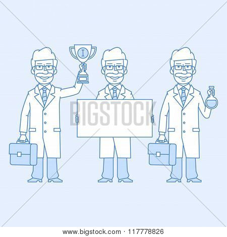 Professor holding various objects