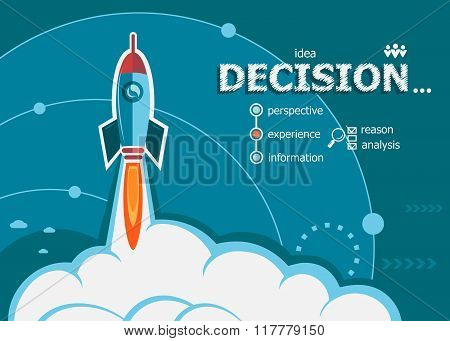 Decision Design And Concept Background With Rocket.