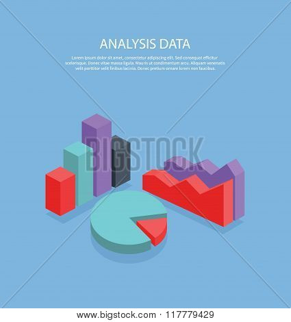 Pie Chart Flat Sign Design. Isometric
