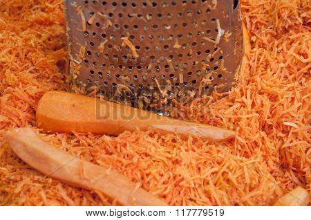 Grated Carrots On The Table.