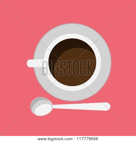 Cup of Coffee Isolated Design Flat