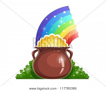 Kettle with gold and rainbow for saint patrick day. Vector illustration. Isolated on white background. Transparent objects used for lights and shadows drawing