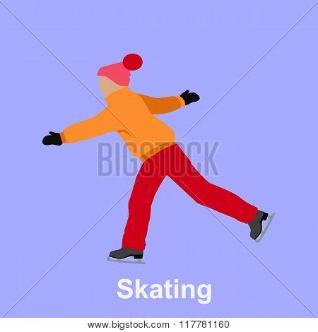 People Skating Flat Style Design