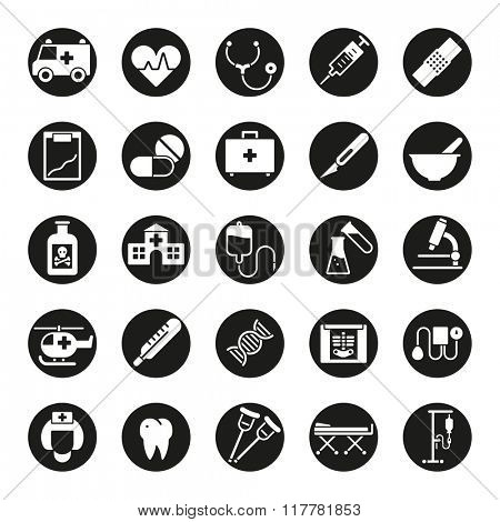 Medical and healthcare round vector icon set. Collection of 25 medical and healthcare glyphs, negative in black circles