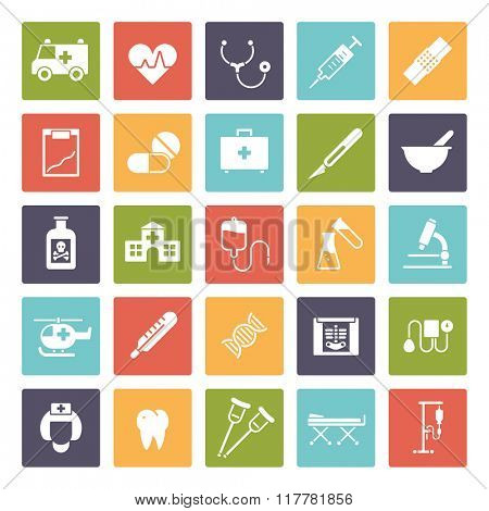 Medical and healthcare square vector icon set. Collection of 25 medical and healthcare related glyph icons in colored squares