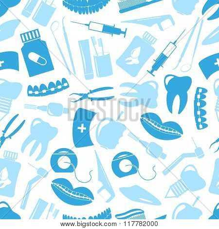Set Of Blue Dental Theme Icons Blue Seamless Pattern Eps10