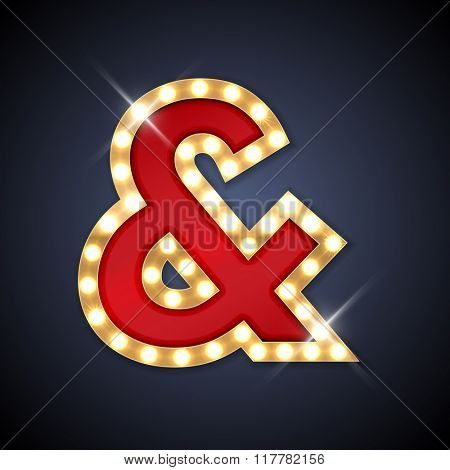 Vector illustration of realistic retro signboard ampersand mark. Part of alphabet including special European letters.