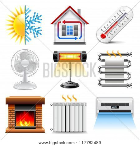 Heating And Cooling Icons Vector Set