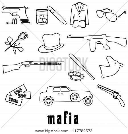 Mafia Criminal Black Outline Symbols And Icons Set Eps10