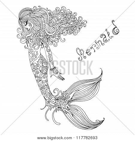 Vector graphic drawing  fairy Mermaid with long curly hair