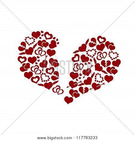 Red Valentine Broken Hearth Love Symbols In Big Hearth Shape Eps10