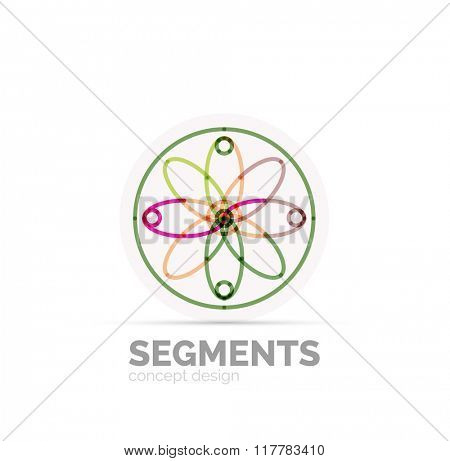 Abstract geometric linear hipster floral icon, frame design, flat style