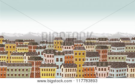 Big colorful city landscape with buildings