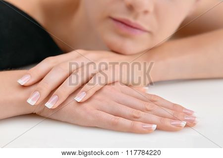 Young Beauty With Polished Finger Nails, Relaxed