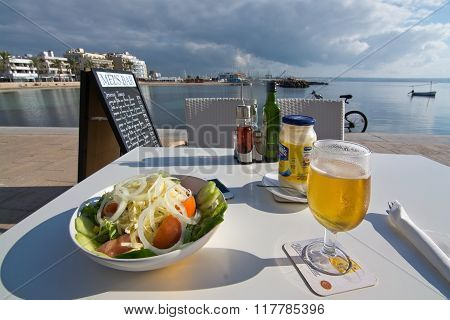 Salad And Beer With A View