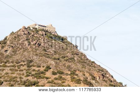 Famous Greek Orthodox monastery of Stavrovouni at the top of a hill in Cyprus. Stavrovouni Monastery is one of the oldest monasteries in the world. ** Note: Soft Focus at 100%, best at smaller sizes