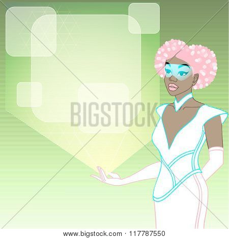 futuristic woman with a green holographic display