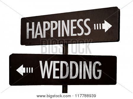Happiness - Wedding signpost isolated on white background