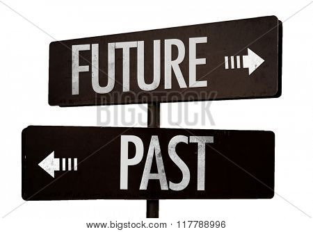 Future - Past signpost isolated on white background