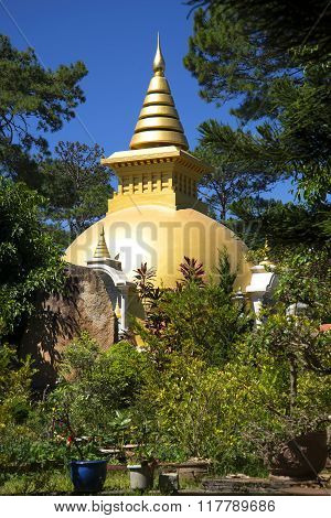 Buddhist stupa in the monastery Dienbien. Vietnam