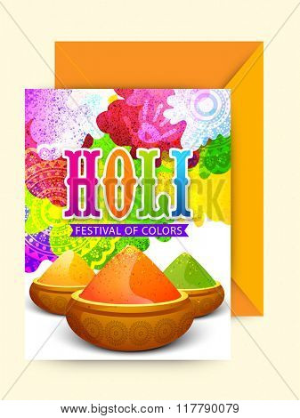Colourful floral design decorated greeting card with envelope for Indian Festival of Colours, Happy Holi celebration.