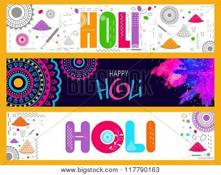 Creative website header or banner set with different elements for Indian Festival of Colours, Happy Holi celebration.