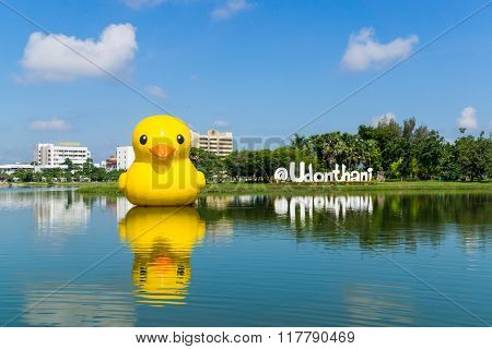 Udonthani, Thailand - September 28, 2014 : Giant Yellow Duck, Most Popular View In Nong Prajak Publi