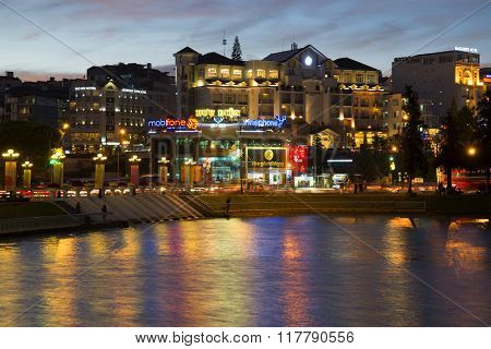 City center in the twilight. Dalat, Vietnam