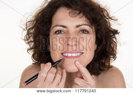 Lipstick Makeup Woman Putting Lip Balm Care.