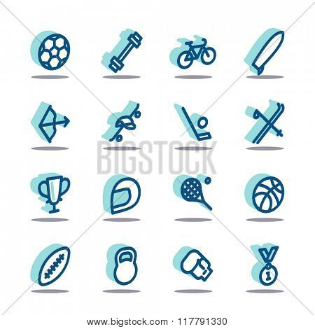 3D Fat Line Icon set for web and mobile. Modern minimalistic flat design elements of sport equipment, Health and Fitness
