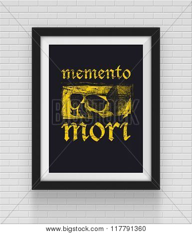 Frame with skull and 'remember of death' inscription. Vector illustration.